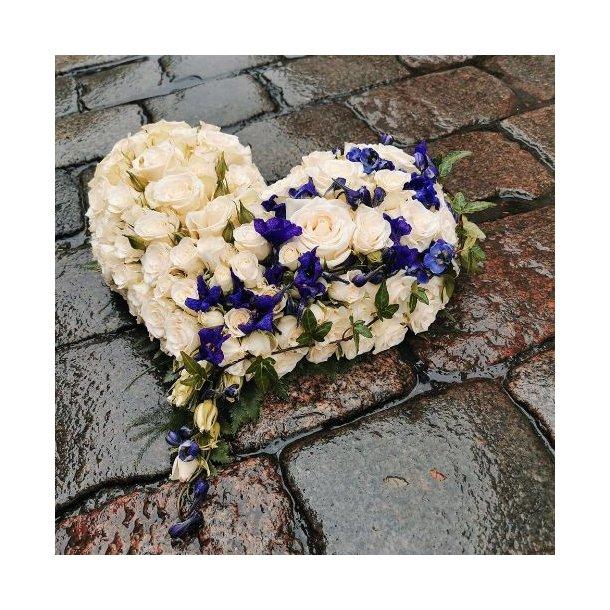 Hjerte til begravelse, hvitt med blått