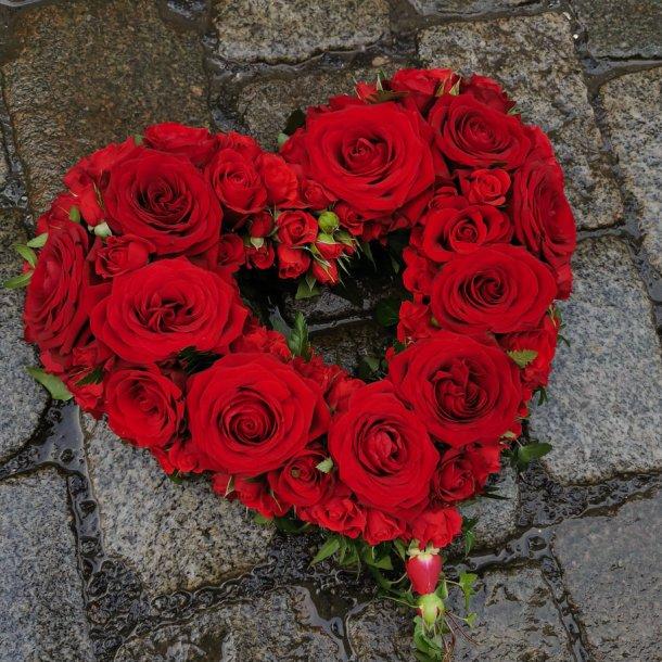 Åpent rosehjerte, røde roser
