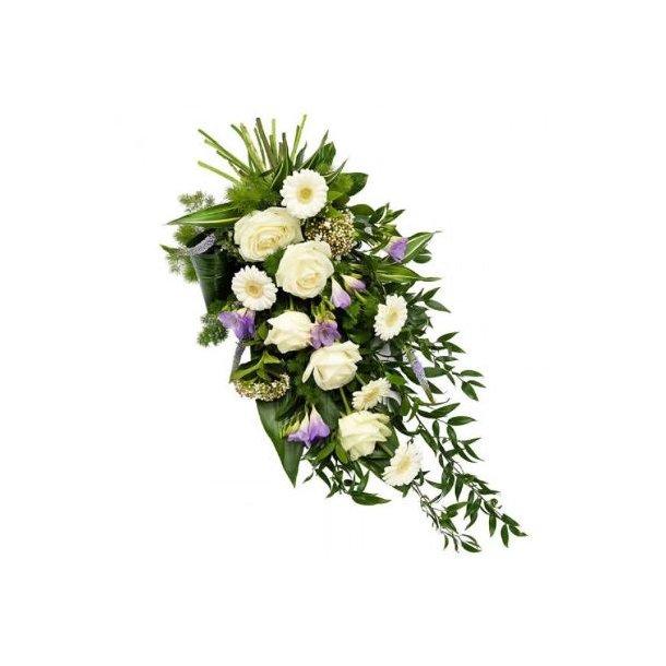 Bårebukett, hvit og lilla