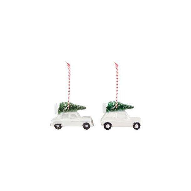 2stk biler med juletre